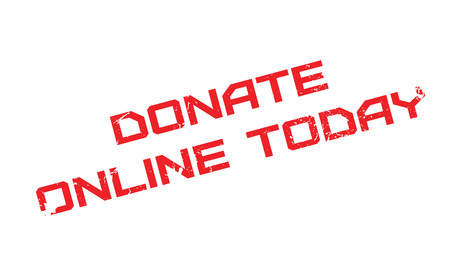Donate Online Today rubber stamp. Grunge design with dust scratches. Effects can be easily removed for a clean, crisp look. Color is easily changed. Illustration