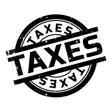 Taxes rubber stamp. Grunge design with dust scratches. Effects can be easily removed for a clean, crisp look. Color is easily changed. Vettoriali