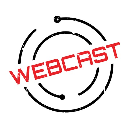 webcast: Webcast rubber stamp. Grunge design with dust scratches. Effects can be easily removed for a clean, crisp look. Color is easily changed. Illustration