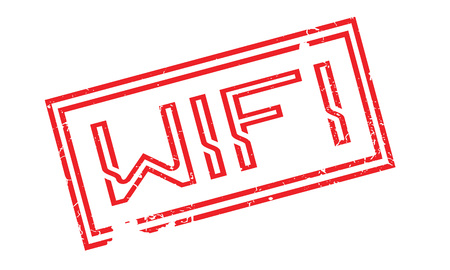 Wifi rubber stamp. Grunge design with dust scratches. Effects can be easily removed for a clean, crisp look. Color is easily changed. Illustration