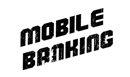 e commerce: Mobile Banking rubber stamp. Grunge design with dust scratches. Effects can be easily removed for a clean, crisp look. Color is easily changed.
