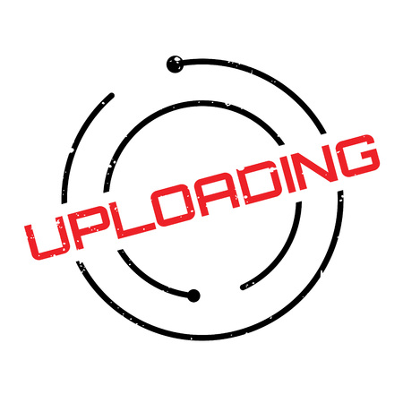 Uploading rubber stamp. Grunge design with dust scratches. Effects can be easily removed for a clean, crisp look. Color is easily changed. Illustration
