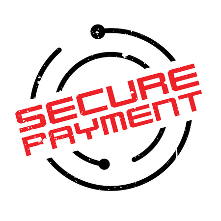Secure Payment rubber stamp. Grunge design with dust scratches. Effects can be easily removed for a clean, crisp look. Color is easily changed.