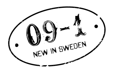 New In Sweden rubber stamp. Grunge design with dust scratches. Effects can be easily removed for a clean, crisp look. Color is easily changed. Illustration