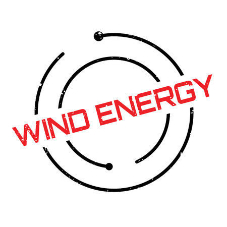 Wind Energy rubber stamp. Grunge design with dust scratches. Effects can be easily removed for a clean, crisp look. Color is easily changed.