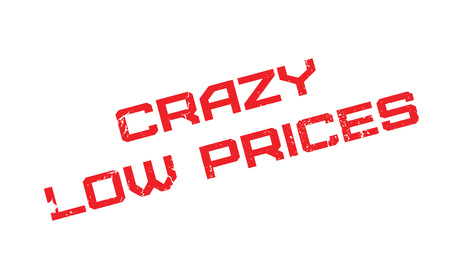 Crazy Low Prices rubber stamp. Grunge design with dust scratches. Effects can be easily removed for a clean, crisp look. Color is easily changed. Illustration