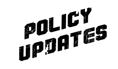ensuring: Policy Updates rubber stamp. Grunge design with dust scratches. Effects can be easily removed for a clean, crisp look. Color is easily changed.