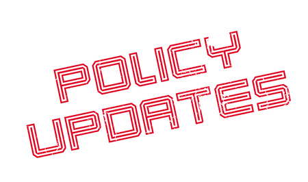 approach: Policy Updates rubber stamp. Grunge design with dust scratches. Effects can be easily removed for a clean, crisp look. Color is easily changed.
