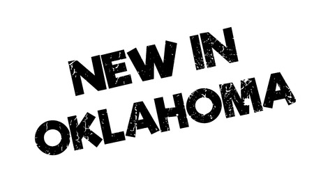 New In Oklahoma rubber stamp. Grunge design with dust scratches. Effects can be easily removed for a clean, crisp look. Color is easily changed. Illustration