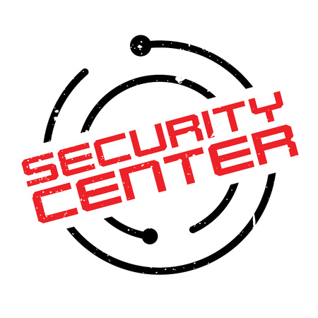 Security Center rubber stamp. Grunge design with dust scratches. Effects can be easily removed for a clean, crisp look. Color is easily changed. Illustration