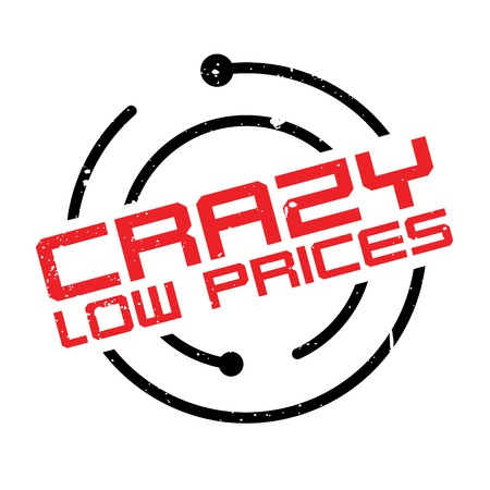 lowering: Crazy Low Prices rubber stamp. Grunge design with dust scratches. Effects can be easily removed for a clean, crisp look. Color is easily changed. Illustration