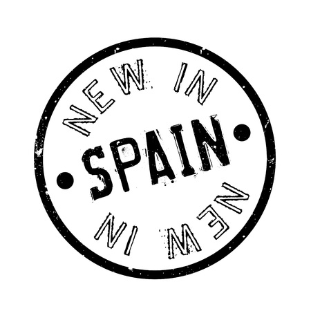 New In Spain rubber stamp. Grunge design with dust scratches. Effects can be easily removed for a clean, crisp look. Color is easily changed.