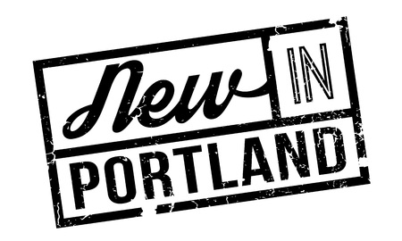 New In Portland rubber stamp. Grunge design with dust scratches. Effects can be easily removed for a clean, crisp look. Color is easily changed.
