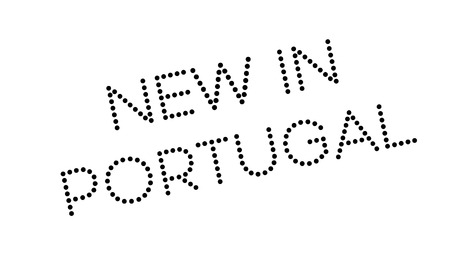 New In Portugal rubber stamp. Grunge design with dust scratches. Effects can be easily removed for a clean, crisp look. Color is easily changed.