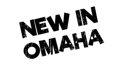 New In Omaha rubber stamp. Grunge design with dust scratches. Effects can be easily removed for a clean, crisp look. Color is easily changed.