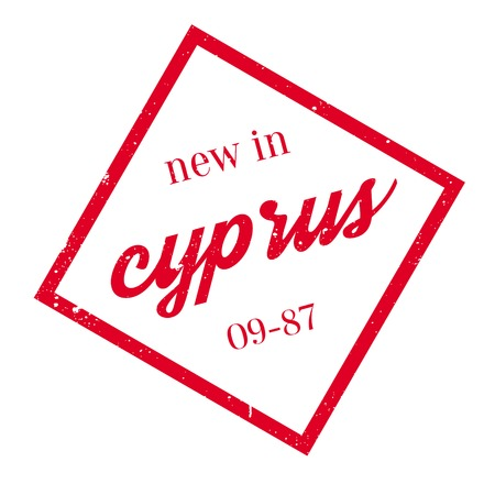 corsica: New In Cyprus rubber stamp. Grunge design with dust scratches. Effects can be easily removed for a clean, crisp look. Color is easily changed.