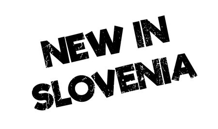 vas: New In Slovenia rubber stamp. Grunge design with dust scratches. Effects can be easily removed for a clean, crisp look. Color is easily changed.