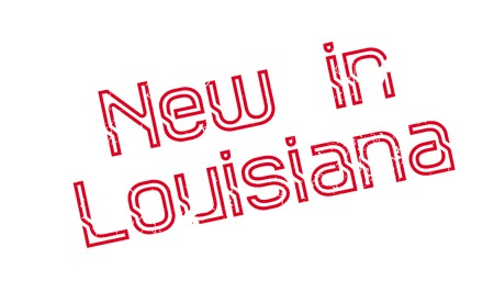 New In Louisiana rubber stamp. Grunge design with dust scratches. Effects can be easily removed for a clean, crisp look. Color is easily changed.