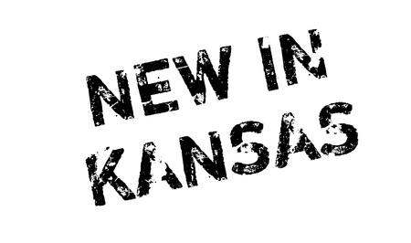 omaha: New In Kansas rubber stamp. Grunge design with dust scratches. Effects can be easily removed for a clean, crisp look. Color is easily changed. Illustration