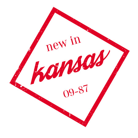 New In Kansas rubber stamp. Grunge design with dust scratches. Effects can be easily removed for a clean, crisp look. Color is easily changed.  イラスト・ベクター素材
