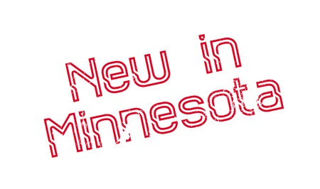 New In Minnesota rubber stamp. Grunge design with dust scratches. Effects can be easily removed for a clean, crisp look. Color is easily changed.