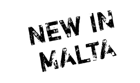 corsica: New In Malta rubber stamp. Grunge design with dust scratches. Effects can be easily removed for a clean, crisp look. Color is easily changed.