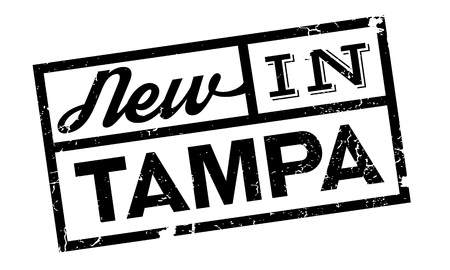 New In Tampa rubber stamp. Grunge design with dust scratches. Effects can be easily removed for a clean, crisp look. Color is easily changed.