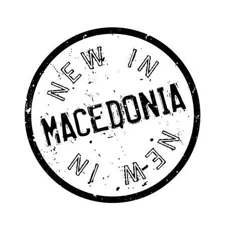 serb: New In Macedonia rubber stamp. Grunge design with dust scratches. Effects can be easily removed for a clean, crisp look. Color is easily changed.