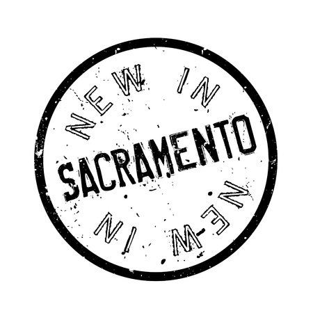 joaquin: New In Sacramento rubber stamp. Grunge design with dust scratches. Effects can be easily removed for a clean, crisp look. Color is easily changed.