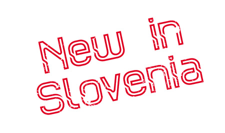 New In Slovenia rubber stamp. Grunge design with dust scratches. Effects can be easily removed for a clean, crisp look. Color is easily changed.
