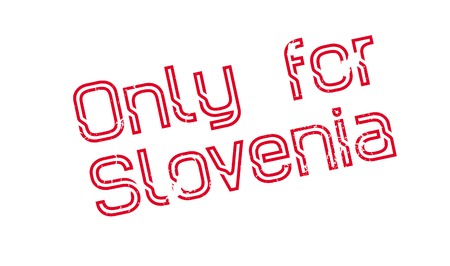 Only For Slovenia rubber stamp. Grunge design with dust scratches. Effects can be easily removed for a clean, crisp look. Color is easily changed.