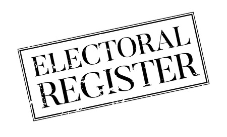local elections: Electoral Register rubber stamp. Grunge design with dust scratches. Effects can be easily removed for a clean, crisp look. Color is easily changed. Illustration