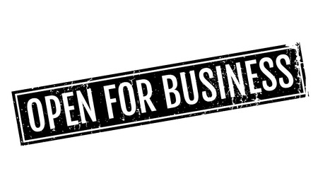 Open For Business rubber stamp. Grunge design with dust scratches. Effects can be easily removed for a clean, crisp look. Color is easily changed. Illustration