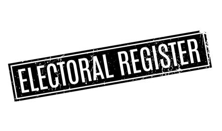 Electoral Register rubber stamp. Grunge design with dust scratches. Effects can be easily removed for a clean, crisp look. Color is easily changed. Illustration