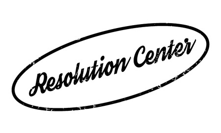 Resolution Center rubber stamp. Grunge design with dust scratches. Effects can be easily removed for a clean, crisp look. Color is easily changed. Stock Photo