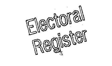 local council election: Electoral Register rubber stamp. Grunge design with dust scratches. Effects can be easily removed for a clean, crisp look. Color is easily changed. Stock Photo