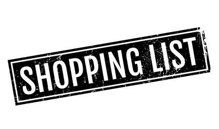 e commerce icon: Shopping List rubber stamp Illustration