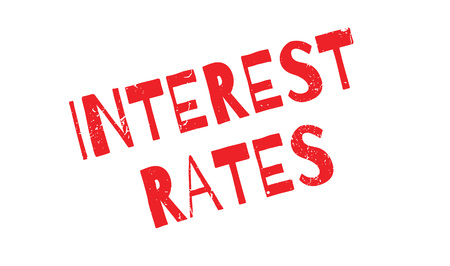 borrowing money: Interest Rates rubber stamp. Grunge design with dust scratches. Effects can be easily removed for a clean, crisp look. Color is easily changed.