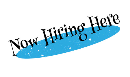 Now Hiring Here rubber stamp Illustration