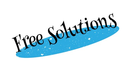 Free Solutions rubber stamp. Grunge design with dust scratches. Effects can be easily removed for a clean, crisp look. Color is easily changed.