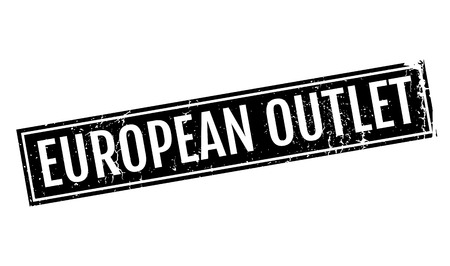 European Outlet rubber stamp. Grunge design with dust scratches. Effects can be easily removed for a clean, crisp look. Color is easily changed.