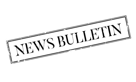 reportage: News Bulletin rubber stamp. Grunge design with dust scratches. Effects can be easily removed for a clean, crisp look. Color is easily changed.