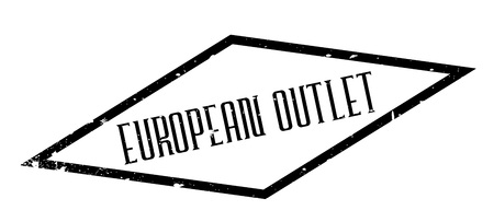 tear duct: European Outlet rubber stamp. Grunge design with dust scratches. Effects can be easily removed for a clean, crisp look. Color is easily changed.