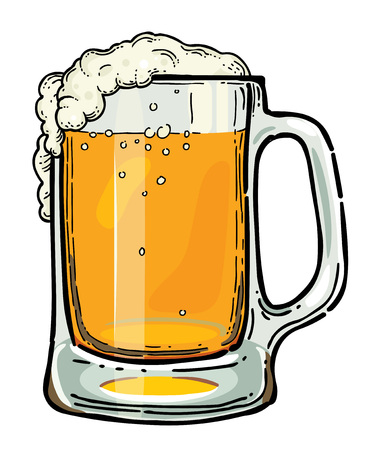 Cartoon image of beer in glass. An artistic freehand picture.