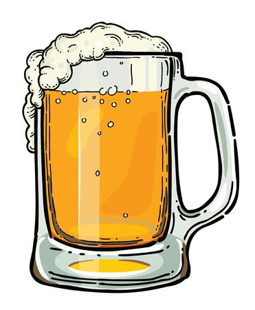 Beeldverhaalbeeld van bier in glas. Een artistieke afbeelding uit de vrije hand.
