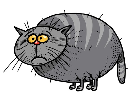 Cartoon image of fat cat. An artistic freehand picture. Illustration