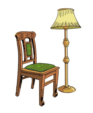 Cartoon image of lamp and old chair. An artistic freehand picture. Illustration
