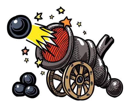 firing: Cartoon image of big cannon firing. An artistic freehand picture.