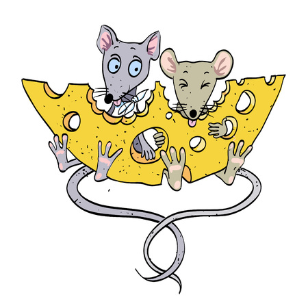Cartoon image of mice with cheese