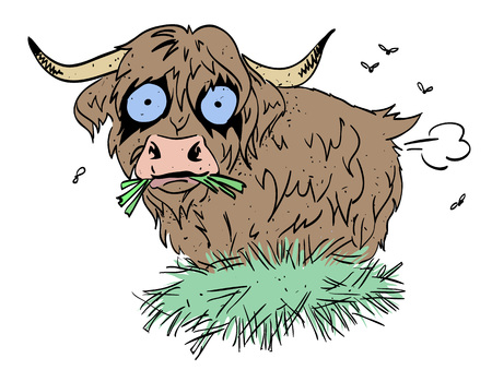 Cartoon image of hairy cow farting